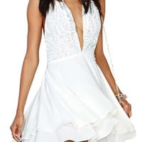 White Halter V Neck Lace Chiffon A-Line Mini Skater Dress