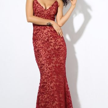 All Night Affair Glitter Floral Pattern Sleeveless Spaghetti Strap V Neck Maxi Dress