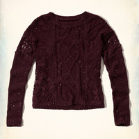 Lace-panel Cable Sweater
