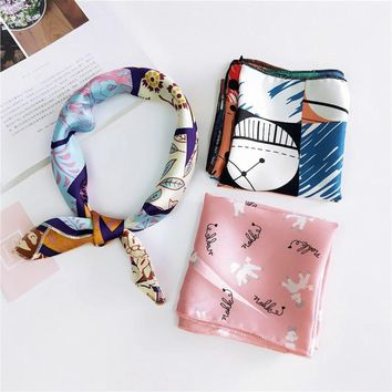 Hot Sale Small Square Satin Scarf Artifical Silk Scarf Foulard Femme Elegant Women's Wrap Handkerchief Bandana Accessories