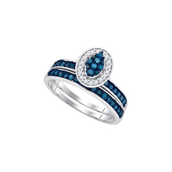 10kt White Gold Womens Blue Colored Diamond Cluster Bridal Wedding Engagement Ring Band Set 1/2 Cttw 89462