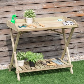 Giantex Console Serving Table Wood Potting Bench Workstation Shelf Display Patio Outdoor Outdoor Furniture GT3202
