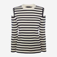 ‎‎‎‎Women‎'s ‎Navy/White ‎ ‎Chain Stripe Knit Sweater ‎ | Alexander McQueen
