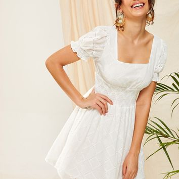 Frill Trim Shirred Waist Schiffy Dress