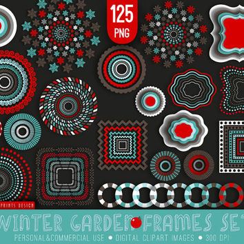 125 Winter Garden Frames Clipart, brown blue red white, winter clipart, Christmas frames labels tags clipart clip art, xmas clipart, cards