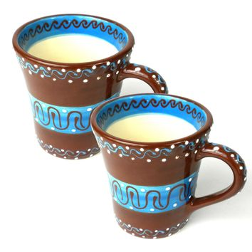 Set of Two Flared Cups Mugs - Chocolate Mexican Pottery