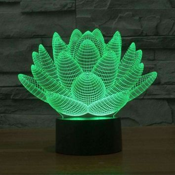 Multi Color Succulent Style 3D Night Lamp
