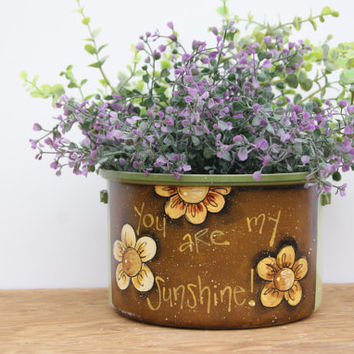 Sage Flower Pot Kitchen Decor Hand Painted Sage Green Pot You Are My Sunshine Country Home Decor Cottage Chic Decor Pot Distressed Decor