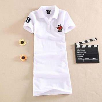 Slim Embroidery Party T Shirt 2017 Cartoon Casual Print Dress Elegant Polo Cotton Summer Sexy Club Robe Women Ete Vestidos Femme