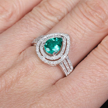 6x8mm Lab Emerald Engagement ring White gold,Diamond wedding band,14k,Pear Shaped Cut Treated Emerald,Green Gemstone Promise Ring,Bridal