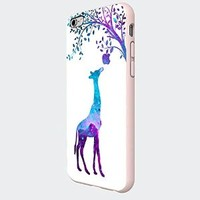 Giraffe Eat Apple Nebula Galaxy Custom Case (White Iphone 6)