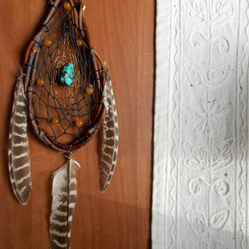 Teardrop Dream Catcher with Orange Quartzite and Turquoise // Home Office Apartment Dorm Room Decor