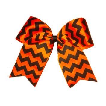Orange and Black Chevron Cheer / Softball Bow - Free Shipping