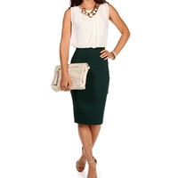 Ivory/Emerald Colorblock Business Dress
