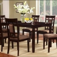 The Room Style 7 piece Cherry Finish Solid Wood Dining Table Set