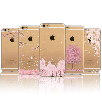 Phone Case For Apple iPhone 6 6s 5 5S SE 4 4S Phone Bag Japan Sweet Cherry Blossom Soft TPU Transparent Back Cover