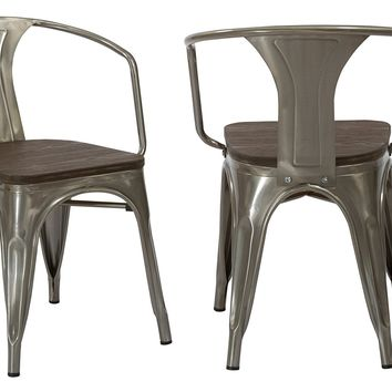 Industrial Gun Metal Rustic Distressed Restaurant Dining Arm Chairs, Set of 2