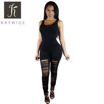 Kaywide Multi Candy Color Woman Sexy Bodycon Burning Jumpsuits Hollow Night Club Party Bandage Full Jumpsuit Plus Size Overalls