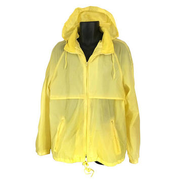 Vintage Men Windbreaker Yellow Windbreaker Hooded Windbreaker 80s Windbreaker Hooded Jacket Yellow Jacket 80s Jacket Men Jacket Lightweight