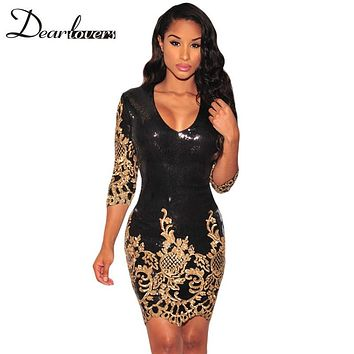 Dear lover Women Party Dress Winter 2017 Black Gold Sequin Bodycon Dress  Sexy V-Neck 3/4 Sleeves Sheath Club Mini Dress LC22794