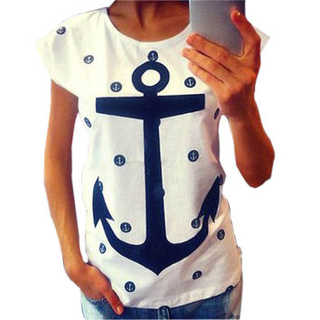 Summer Style Women Lady Letter Print Anchor Slim Cotton Casual Shirts Tops T Shirts Plus Size XXL F9648