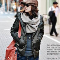 Buy Vogue Pattern Hooded Coat Army Green with cheapest price wholesale-dress.net