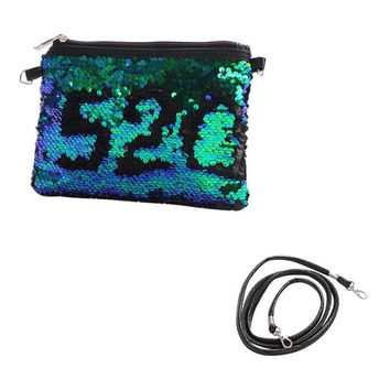 Women Mermaid Portable Sparkly Sequin Shoulder Storage Bag with Straps Makeup Organizer Sequins Cosmetic Bag Pouch