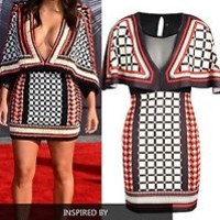 WOMENS LADIES Celeb Kim Inspired Bohemian Check Cape Dress KARDASHIAN