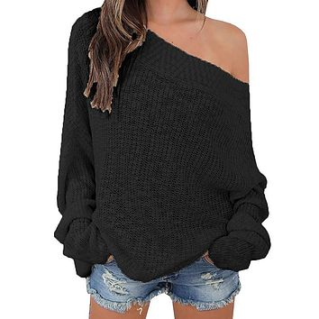 Off Shoulder Casual Pullover Sweater