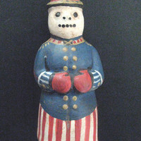 "Primitive Chalkware Snowman-""PATRIOTIC SNOWMAN"" Chalkware Folk Art Snowman from a Vintage Mold/Hand Painted in Original Military Design"