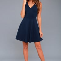 Bon Appetit Navy Blue Skater Dress