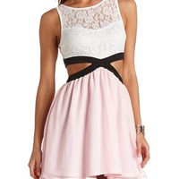 COLOR BLOCK CUT-OUT SKATER DRESS