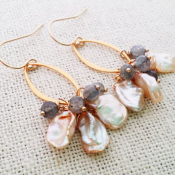 Keshi Pearl Labradorite Gemstone 14k Gold Fill Cluster Dangle Earrings - Gemstone Earrings - Pearl Earrings - Gift for Her