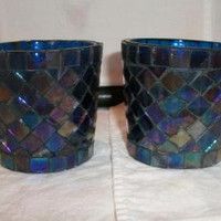 Blue Iridescent Stained Glass Votive Cups Candle Holder Boho Home Decor