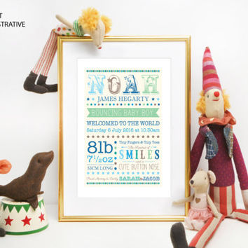 New Baby Christening Gift - birth announcement - Personalised Customised UNFRAMED Print - Beautiful Keepsake