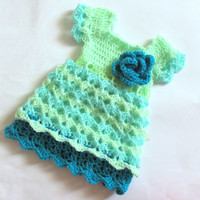 Newborn baby toddler outfit dress in turquoise mint green chevron infant dress take home baby clothes matinee newborn frock first outfit