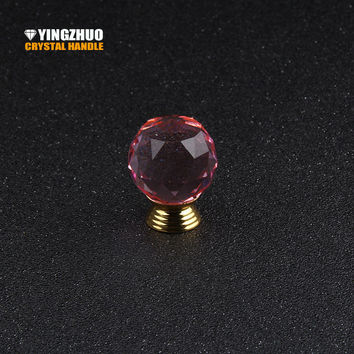 30Mm Pink Crystal Glass Ball Alloy Base Handle Furniture Accessories Hardware Drawer Cabinet Wardrobe Door Knob 1Pcs For