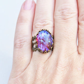 Vintage Dragons Breath Opal Ring,Mexican Opal,Red Opal with Stunning Purple Highlights,Adjustable Brass Filigree Ring,Victorian,Opal Jewelr