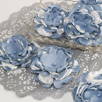 Blue Wedding Flower Sew On Applique Table Decor Bridal Supply Singed Ruffle Flower, Vintage Blue & Ivory, (Set of 3) RF106
