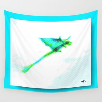 Puffy painted Dragon Wall Tapestry by Jessica Ivy
