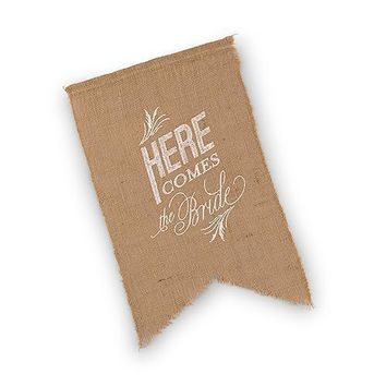 Natural Burlap Ceremony Sign - White Print Here Comes the Bride (Pack of 1)