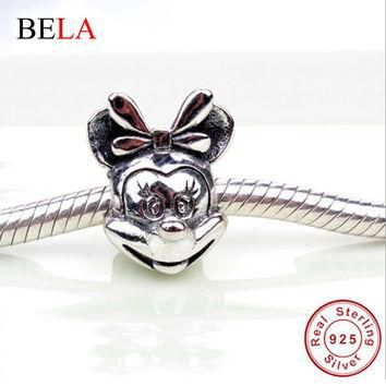 New Fashion 925 Sterling Silver Lovely Minnie Mouse Charms Beads Fit Original Pandora