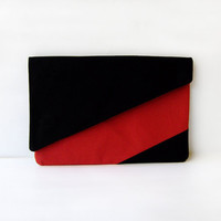 Red and Black Gometric Clutch
