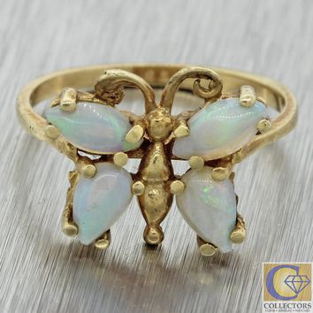 Vintage Estate 14k Yellow Gold Marquise .80ctw Fire Opal Butterfly Cocktail Ring