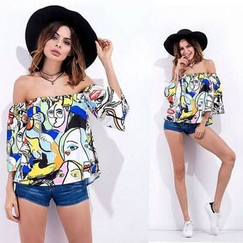 Summer Sexy Off Shoulder T Shirt Women Tops Multicolor