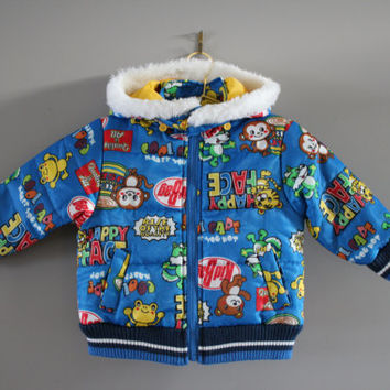Japan toddler blue cartoon graphic quilted jacket hooded comics pattern yellow lining size 2 - 3 Y