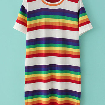 Multicolor Stripe Shift Dress