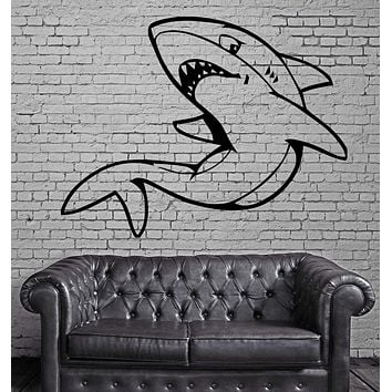 Shark Fish Funny Animal Kids Mural Mural Wall Art Decor Vinyl Sticker Unique Gift z050