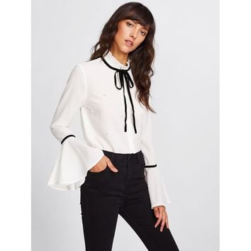 Pleated Collar Pearl Beading Fluted Sleeve Blouse