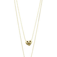 NECKLACE / DOUBLE LAYER / METAL HEART PENDANT / PEARL / LINK / CHAIN / 16 INCH LONG / 1 1/4 INCH DROP / NICKEL AND LEAD COMPLIANT